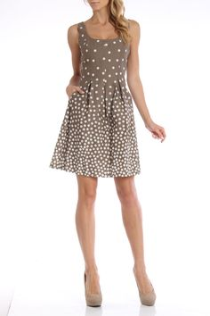 Nine West Cascading Dots Dress in Tan And Ivory
