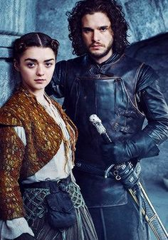 Maisie Williams as Arya Stark and Kit Harington as Jon Snow in new Game of Thrones Season 5 promotional portrait for Entertainment Weekly.