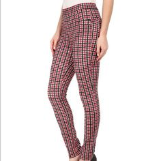 """Sanctuary Vintage plaid leggings NWT Sanctuary vintage plaid ponte knit leggings. NWT size medium. Elastic waistband. Mock four pocket design with curved seam detail. There is also a seam that hits around the back of the knees. Material is 69% rayon, 27% nylon, 4% spandex. Hand wash. Slim fit, mid rise. Waist flat 14"""", Inseam 27.5"""".  Black, red, white. ‼️ Price is firm ‼️ Sanctuary Pants Leggings"""