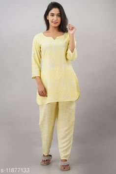 Checkout this latest Nightsuits Product Name: *Jivika Women Rayon Nightsuit* Top Fabric: Rayon Bottom Fabric: Rayon Top Type: Regular Top Bottom Type: Pyjamas Sleeve Length: Three-Quarter Sleeves Pattern: Printed Multipack: 1 Sizes: S (Top Bust Size: 38 in, Top Length Size: 30 in, Bottom Waist Size: 28 in, Bottom Length Size: 38 in)  M (Top Bust Size: 40 in, Top Length Size: 30 in, Bottom Waist Size: 30 in, Bottom Length Size: 38 in)  L (Top Bust Size: 42 in, Top Length Size: 30 in, Bottom Waist Size: 32 in, Bottom Length Size: 38 in)  XL (Top Bust Size: 44 in, Top Length Size: 30 in, Bottom Waist Size: 34 in, Bottom Length Size: 38 in)  XXL (Top Bust Size: 46 in, Top Length Size: 30 in, Bottom Waist Size: 36 in, Bottom Length Size: 38 in)  Country of Origin: India Easy Returns Available In Case Of Any Issue   Catalog Rating: ★4 (245)  Catalog Name: Women's Rayon Nightsuits CatalogID_2255512 C76-SC1045 Code: 254-11877133-1611