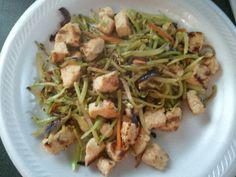 Quick and easy low carb meal. Only 2 carbs!!! Broccoli slaw and chicken breast stir fried.....