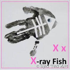 Handprint Animal Alphabet A-Z Letter X Crafts, Abc Crafts, Alphabet Crafts, Fish Crafts, Alphabet Book, Animal Crafts, Alphabet School, Alphabet Letters, Preschool Projects