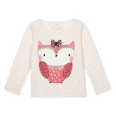 bluezoo Girl's cream owl print top- at Debenhams.com
