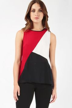 For an everyday wardrobe update, opt for this vibrant red, white and black vest featuring a colour-block design, PU trim and wrap-back detail. Wear with simple skinny trousers and ballerina flats for effortless casual cool style Milania Trump Style, Patchwork Dress, Blouse And Skirt, Cut Shirts, Corsage, Dress Patterns, Blouse Designs, Cute Outfits, Tunic Tops