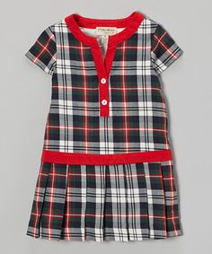 Take a look at this Green & Red Plaid Drop-Waist Dress - Toddler & Girls by P'tite Môm on #zulily today!