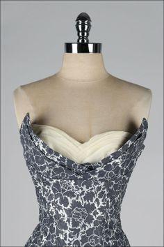 Vintage 1950's Fred Perlberg Metallic Strapless Dress