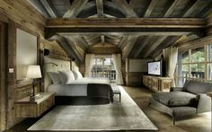 My dream bedroom....Love the naturals colors, open air and exposed ceiling. I could stay locked in here for days, lol...