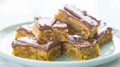 you'll love these sweet, creamy, chocolaty, makes-the-whole-day bars just as much, even if a lunch lady never plunked one on your cafeteria tray way back when. Cookie Desserts, Easy Desserts, Cookie Recipes, Delicious Desserts, Dessert Recipes, Bar Recipes, Pizza Recipes, Lunch Recipes, Peanut Butter Bars