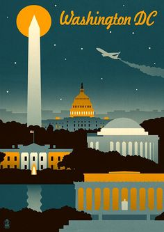 Washington, DC - Retro Skyline (no text) - Lantern Press Artwork Giclee Art Print, Gallery Framed, Espresso Wood), Multi Retro Poster, Poster S, Poster Prints, Art Prints, Poster Wall, Canvas Prints, Framed Prints, Big Canvas, Framed Wall