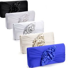 Sequins Rose Satin Evening Party Prom Clutch Bag Bridal Purse