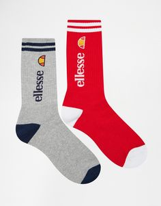 Socks by Ellesse Cotton-mix fabric Ribbed cuffs Contrast stripe design Signature logo Machine wash 73% Cotton, 16% Polyamide, 10% Polyester, 1% Elastane Pack of two
