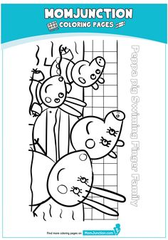 peppa pig swimming pool Coloring Page Peppa Pig Coloring Pages, Beach Coloring Pages, Cartoon Coloring Pages, Peppa Pig Swimming Pool, Peppa Pig Drawing, Pig Family, Pig Party, Diy Home Crafts, Pig Birthday