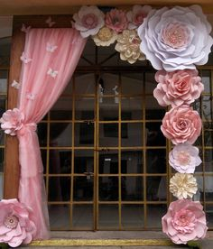 Discover thousands of images about Paper Flower Backdrop Paper Flower Wall Paper by MioGallery Giant Paper Flowers, Paper Flower Backdrop, Diy Flowers, Floral Backdrop, Balloon Flowers, White Flowers, Birthday Decorations, Wedding Decorations, Paper Party Decorations