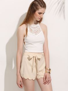 Shop Apricot Tie Waist Scalloped Hem Shorts online. SheIn offers Apricot Tie Waist Scalloped Hem Shorts & more to fit your fashionable needs.