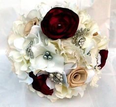 Brooch Bouquet Wedding Bridal Fabric Flower by AfternoonDelite, $50.00
