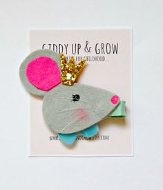 Woodland Hair Clip - Felt Mouse Hair Clip, Giddy Up and Grow, WOODLAND ROYALS