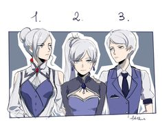 """Yup, this is me. The middle child."" (by lol_dessin) Winter Weiss Whitley RWBY"