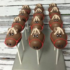 12 Horse Cake Pops Barnyard Farm Birthday Baby Shower Favors Sweets Table Candy Buffet