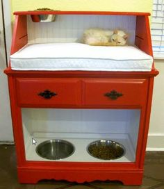 So clever! A flip-top secretary desk upcycled into a pet station with dog dishes at the bottom and a cat bed and dishes on top.