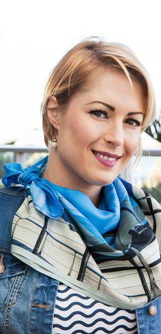 Blue & beige linear design 100% silk scarf looks smart with wavy navy & white tee & denim jacket.