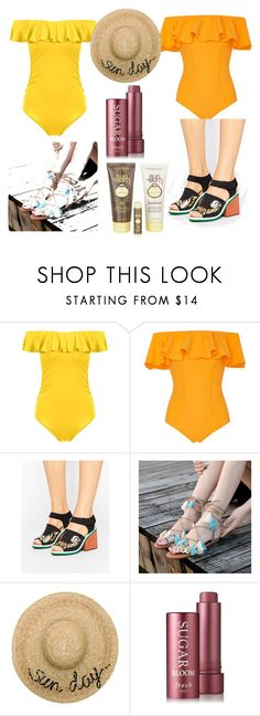 """""""sugar, sun and suncream"""" by cecjones ❤ liked on Polyvore featuring Lisa Marie Fernandez, Clover Canyon, Eugenia Kim and Sun Bum"""