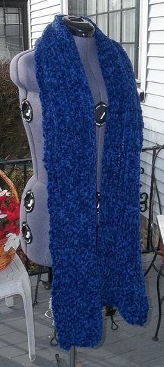 Sapphire Scarf Long Knit Chenille by LilMindas on Etsy, $50.00