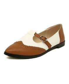 Retro PU Leather Flat Shoes in Two-tone - Flats Shoes - Shoes - Footwear