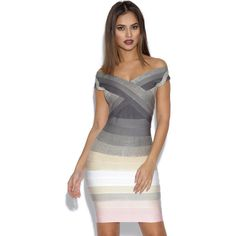 Grey and Pink Ombre Bandage Dress featuring polyvore women's fashion clothing dresses grey ombre bandage dress gray bandage dress bandage dress v neck bandage dress gray dress