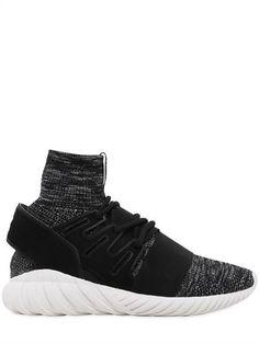 ADIDAS ORIGINALS Tubular Doom Primeknit & Suede Sneakers in Black