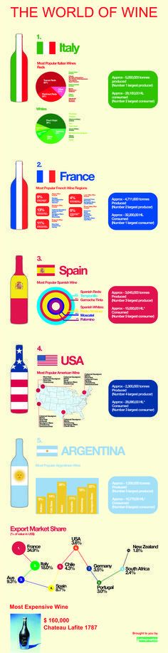 The World Of Wine - Most Popular Wines by Regions: Italy, France, Spain, USA, Argentina
