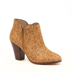 """Sole Society """"Chelsa"""", Zipper Style Bootie - Bootie with zipper hardware, stacked heel and an easy side zipper closure. Haircalf material, Heel Height: 3"""", Fit: True to size. Available in Tan (shown), Black, Bourbon, and Taupe. Shoe Width: Medium -- $99.95"""