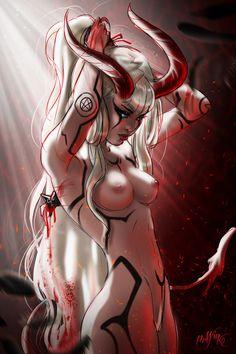 """Fallen"" by Prywinko on DeviantArt. (fantasy art, female demon with horns, tail)"