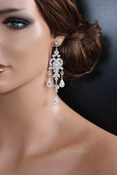 Wedding Chandelier Earrings Swarovski Crystal por LuluSplendor