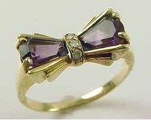 {Retro BOW Ring Amethyst With Diamond Accent 10k Gold 1940's - Ruby Lane - $225}