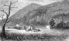 Engraving showing the settlement of Bonanza, Sagnache County, Colorado, 16th July 1880. In 1880 it was just a few tents, but by 1881 Bonanza had become a large town.
