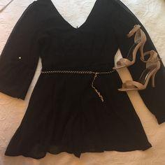 Chiffon Romper Black. Chiffon. Long sleeve. Tassel belt. Back zipper. Bottom almost looks like a dress, delicate &not poofy :p that's not my thing. Other