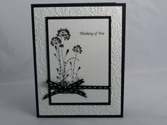 This hand-made sympathy using Stampin Ups Serene Silhouette stamp set features the sentiment Thinking of You. The base of the card is black