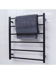 RADIANT MATTE BLACK SLTR-01 SQUARE NON HEATED TOWEL RAIL 700/800   BATHROOM SUPPLIES   BATHROOM ACCESSORIES