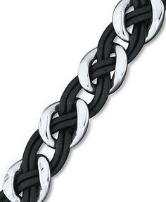 Men's Stainless Steel and Leather Bracelet, Braided Link Bracelet