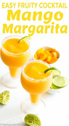 Mango Margarita -- easy and flavorful fruity cocktail with mango and shots of tequila. Perfect for simple celebrations or holiday gatherings. Mango Margarita, Margarita Drink, Easy Fruity Cocktails, Refreshing Summer Cocktails, Beach Cocktails, Alcoholic Cocktails, Cocktail Drinks, Tequila, Watermelon Lemonade