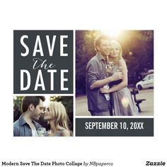 Modern Save The Date Photo Collage Postcard