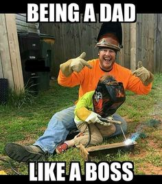 And he has Spider Man slip on's. Anybody who can pull up to a job site wearing those shoes, is definitely Boss!! Get some little welder...