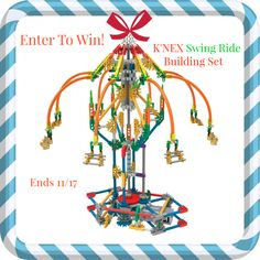 Enter to #win a K'Nex Explorations Swing Ride Building Set - designed to encourage STEM learning in children! - ends 11/17 US Only