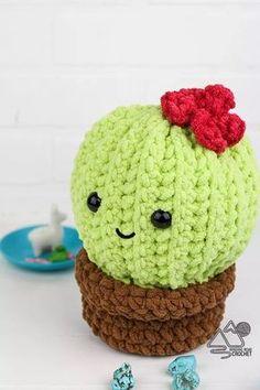 Cactus En Crochet, Crochet Cactus Free Pattern, Easy Crochet Patterns, Crochet Patterns Amigurumi, Crochet Dolls, Crochet Flowers, Minecraft Crochet Patterns, Free Crochet Patterns For Beginners, Easy Crochet Projects