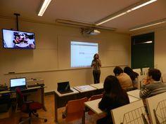 Primeira sessão presencial/contacto da edição 2014/15 da pós-graduação em TCeIE. Sessão em direto com o Brasil