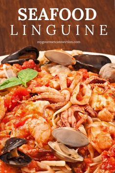 A favorite of seafood lovers! This classic pasta dish combines shrimp, scallops, squid, tilapia, clams and mussels with a simple marinara sauce served over linguine. Perfect for a special date night in! Linguine with Sea Shrimp Linguine, Linguine Recipes, Seafood Pasta Recipes, Shrimp Marinara, Marinara Recipe, Marinara Sauce, Seafood Menu, Seafood Dinner, Seafood Tower