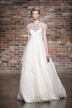 illusion neckline wedding dress by Hayley Paige from fall 2014 bridal market | via junebugweddings.com