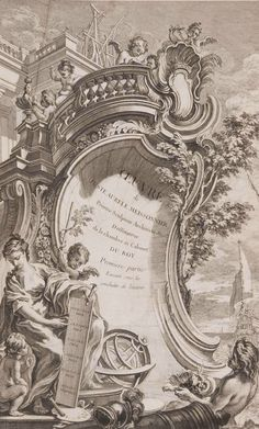 Drawings by Gilles-Marie Oppenord and Juste-Aurèle Meissonnier on view at Waddesdon Manor - Alain. Image Digital, Grisaille, Decoupage Vintage, Carving Designs, Classic Architecture, Filigree Design, Ink Illustrations, Gravure, Les Oeuvres