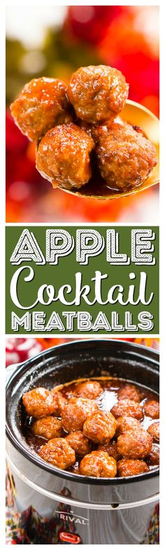 These Apple Cocktail Meatballs are an easy party food appetizer. These Apple Cocktail Meatballs are an easy party food appetizer thats made in the slow cooker and loaded with flavors that will tantalize your taste buds! Party Food Meat, Easy Party Food, Party Snacks, Party Treats, Diy Food, Slow Cooker Recipes, Beef Recipes, Cooking Recipes, Meatball Recipes