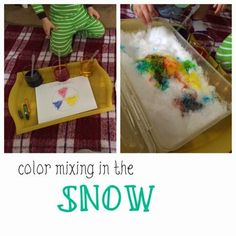 We are wrapping up our snow and ice activities this week before beginning all things love and Valentine's Day! One of our favorite things to do when it snows, is bring the snow inside! We only last outside for so long and love to play in the snow, so indoors it is. This is